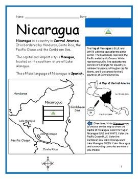 NICARAGUA - Printable handouts with map and flag