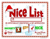 NICE LIST Certified Certificate for Kids!  North Pole Edition