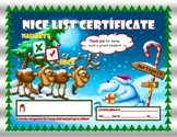 NICE LIST Christmas Holiday Reindeer and Snowman Certificate for Kids!