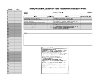 NICHQV Vanderbilt Assessment Scoring Assistant, Score Profile, Teacher Form