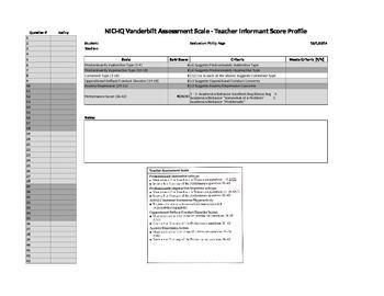 NICHQV Vanderbilt Assessment Scoring Assistant, Score Prof