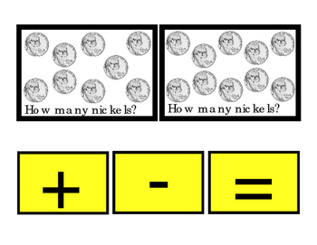 NICKELS How Many Addition Numbers Up to 10 Printable Flash-Cards Subtraction 3pg