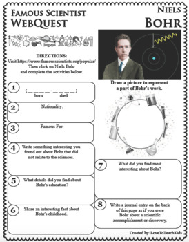 NIELS BOHR Science WebQuest Scientist Research Project Biography Notes