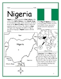NIGERIA - Introductory Geography Worksheet with map and flag