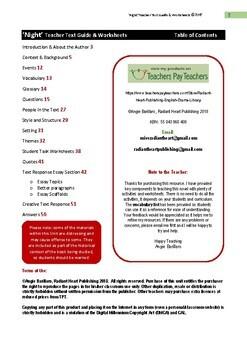 NIGHT- Elie Wiesel Literature Worksheets for teachers -