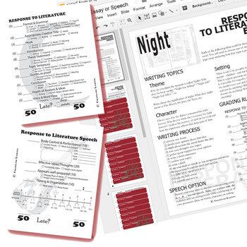 NIGHT Essay Prompts and Speech w Rubrics (Created for Digital)