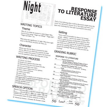 Essay On Butterfly Night Essay Prompts  Grading Rubrics By Elie Wiesel Characteristics Of A Descriptive Essay also Essay On Symbolism Night Essay Prompts  Grading Rubrics By Elie Wiesel By Created  Macbeth Ambition Essay