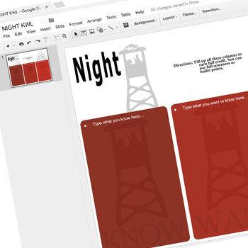 NIGHT KWL Organizer Chart for Notetaking (Created for Digital)