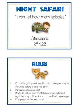 NIGHT SAFARI Syllables - ELA First Grade Folder Game - Word Work Center