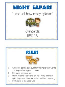 NIGHT SAFARI Syllables - ELA First Grade Folder Game - Word Work Center