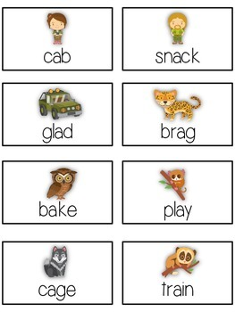 NIGHT SAFARI Vowels- ELA First Grade Folder Game - Word Work Center