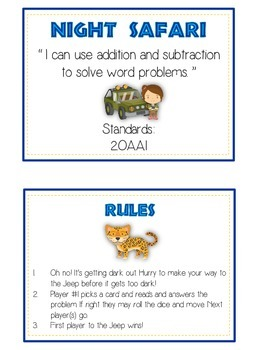 NIGHT SAFARI - Word Problems Adding & Subtracting - Math Folder Game