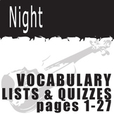 NIGHT Vocabulary List and Quiz (30 words, pgs 1-27)