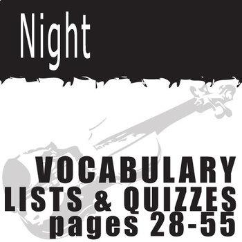 NIGHT Vocabulary List and Quiz (30 words, pgs 28-55)