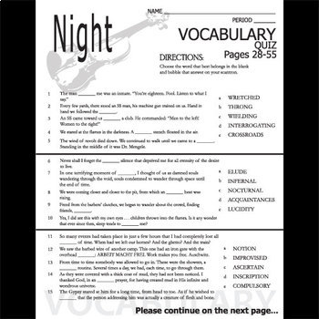 NIGHT Vocabulary List and Quiz (30 words, pgs 28-55)