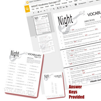 NIGHT Vocabulary List and Quiz Assessment (Created for Digital)
