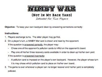 NIMBY War Game Used to Review Pollution