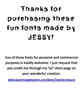 NINE FONTS *Jessy*Fonts* for Personal and Commercial Use!