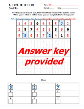 NINE Sudoku Templates - Design Your Own Review Worksheets