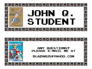 NINTENDO DESK NAME PLATES- EDITABLE- VIDEO GAME THEME- 40 GAMES TO CHOOSE FROM