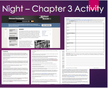 Night- Chapter 3 Internet Activity or Text included