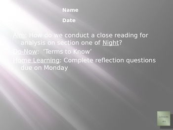 NIght by Elie Wiesel Section One PPT