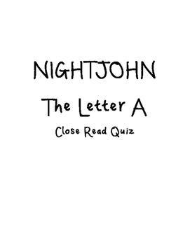 Nightjohn: Letter A