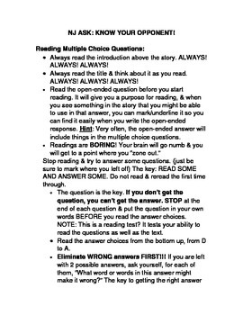 NJ ASK Reading Comprehension and Open Ended Response Guide