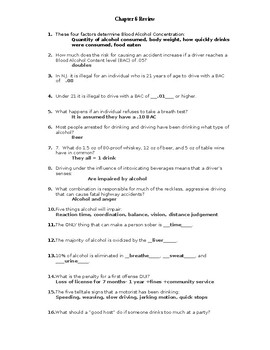 NJ Driver Ed Chapter 6 Review WITH Answers and Word Bank by Kevin Brown