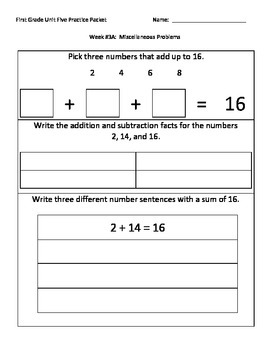 NJ Model Curriculum First Grade Unit Five Practice Packet