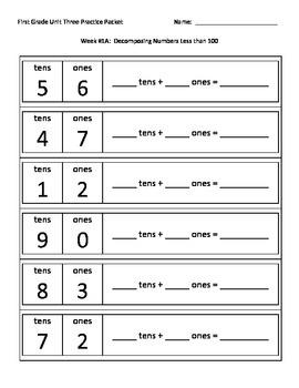 NJ Model Curriculum First Grade Unit Three Practice Packet