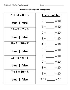 NJ Model Curriculum First Grade Unit Two Practice Packet