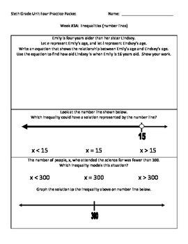 NJ Model Curriculum Sixth Grade Unit Four Practice Packet