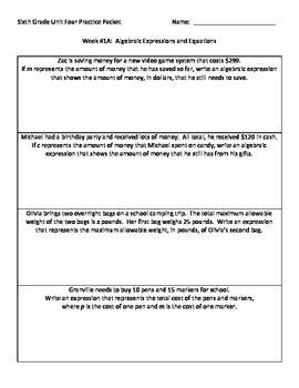 NJ Model Curriculum Sixth Grade Unit Four Practice Packet
