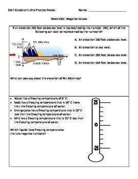 NJ Model Curriculum Sixth Grade Unit One Practice Packet