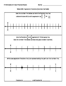 NJ Model Curriculum Third Grade Unit Four Practice Packet