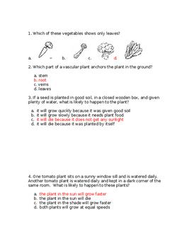 NJ Science Fusion Grade 4, Unit 3 PLANTS Quiz WITH KEY