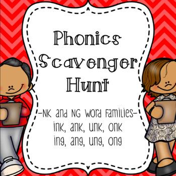 NK and NG Word Family Scavenger Hunt
