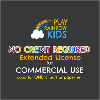 NO CREDIT REQUIRED LICENSE for 1 (ONE) Clipart/Digital Paper Set