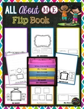 {NO CUT} All About Me FLIP BOOK, Back to School, Beginning of the Year Activity