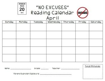 """NO EXCUSES"" READING CALENDARS"