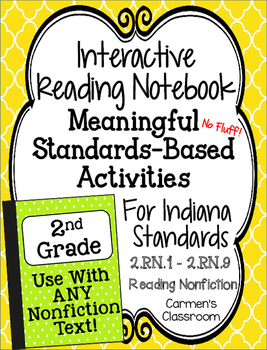 NO FLUFF Interactive Reading Notebook Activities - IN Gr 2 NonFiction Standards