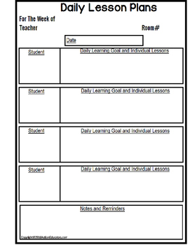 Superieur LESSON PLAN FORMS Editable With Schedule Templates For Special Education  AUTISM
