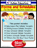 LESSON PLAN FORMS Editable with Schedule Templates for Special Education AUTISM