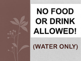NO Food / Drinks Sign