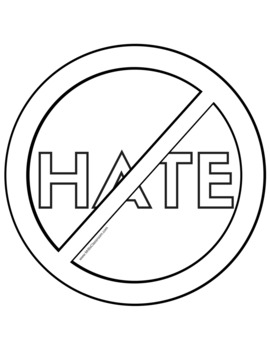 NO HATE Sign. Free Printable in Black-and-White (To save your colored ink!!)
