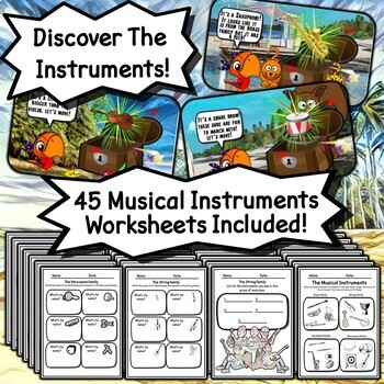 I Spy The Musical Instruments BUNDLE PowerPoints, Worksheets, Tests, & Homework!