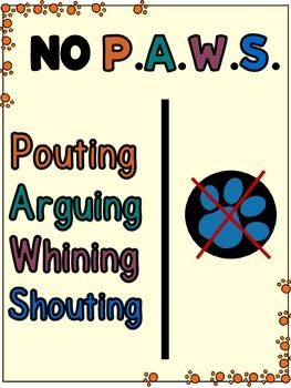 NO P.A.W.S. Poster (Behavior Expectations)