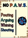 NO P.A.W.S. Poster (Behavior Expectations)
