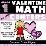 NO PREP 1st Grade Valentine's Day Themed Math Centers